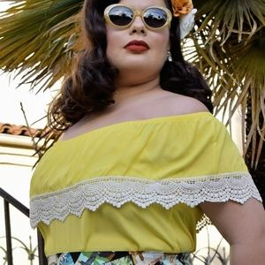Yellow Peasant top Pinup Rockabilly off shoulder